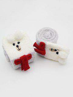 Christmas Unicorn Snowman Fuzzy Floor Socks - Gray Cloud