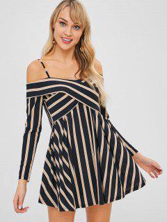 Striped Cold Shoulder Crisscross Skater Dress - Multi L