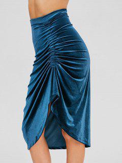 Velvet Ruched Asymmetrical Skirt - Peacock Blue M