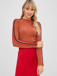 Mock Neck Side Striped Ribbed Knitwear - Papaya Orange