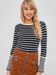 Striped Bell Sleeve Bowknot Sweater - Black