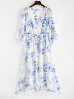 Floral Drawstring Laced Chiffon Cover-up - White