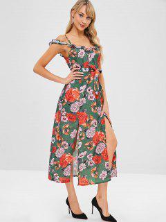 Ruffles Cold Shoulder Midi Floral Dress - Multi L