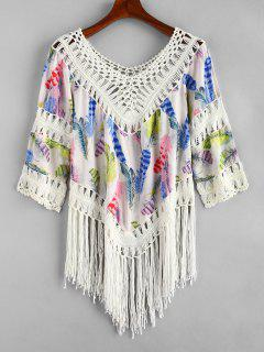Feather Print Crochet Panel Fringed Top - Multi-a