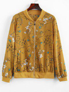 Zip Up Floral Print Jacket - Bee Yellow L
