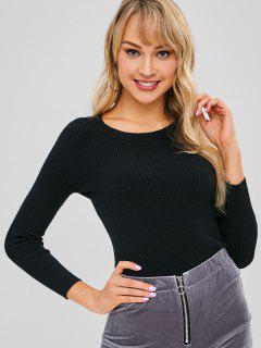 Ribbed Fitted Sweater - Black