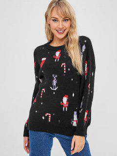 Santa Graphic Christmas Sweater - Black