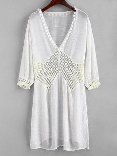 Robe Pannneau Au Crochet à Fente Latérale Avec Pompon - Blanc