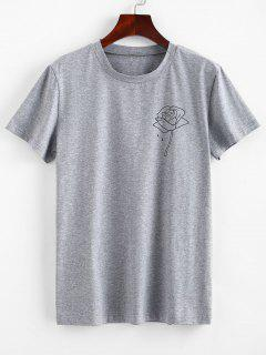 ZAFUL Short Sleeve Rose Tee - Gray Cloud L