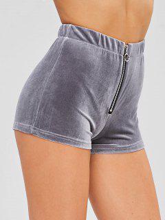 Pantalones Cortos De Terciopelo Con Cremallera - Gris M