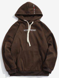 Letter Drawstring Fleece Hoodie - Coffee 2xl