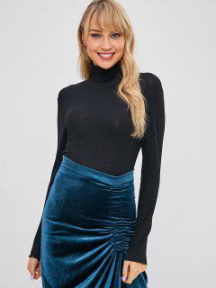 Turtleneck Backless Crop T-shirt - Black S