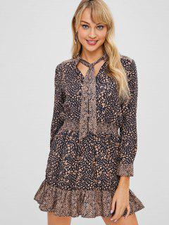 Leopard Print Ruffles Bowtie Dress - Black L