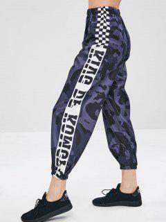 Camo Plaid Print Jogger Pants - Navy Camouflage M