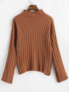 Drop Shoulder Knitted High Neck Sweater - Brown