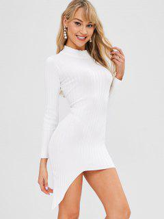 Mock Neck Asymmetrical Sweater Dress - White