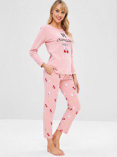 Ensemble De Pyjama Lettre Cerise à Manches Longues - Rose Léger  2xl