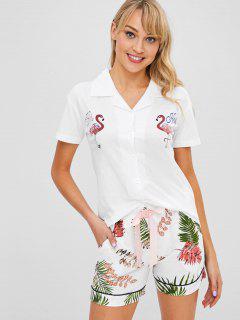 Tropical Flamingo Short Sleeve Pajama Set - White 2xl
