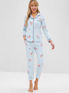 Pocket Cherry Button Up Pajama Set - Jeans Blue M