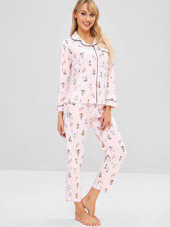 Cactus Pocket Button Up Pajama Set - Light Pink M