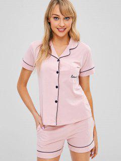 Flamingo Button Up Pocket Pajama Set - Pink L