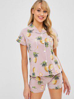 Pineapple Pocket Short Sleeve Pajama Set - Lipstick Pink Xl