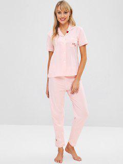 Heart Letter Embroidered Short Sleeve Pajama Set - Light Pink M