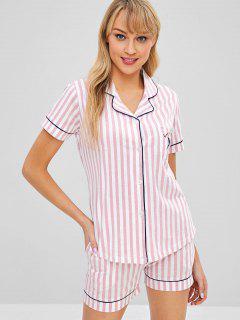 Striped Short Sleeve Button Up Pajama Set - Pig Pink Xl