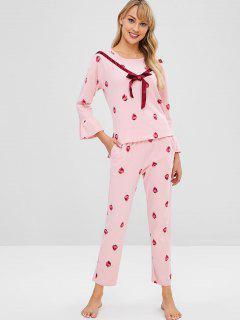 Conjunto De Pijama Bajo Y Bajo De Mangas Acampanadas De Fresa - Rosa Claro 2xl