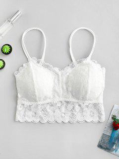 Plus Size Removable Pads Lace Cami Top - White 3x