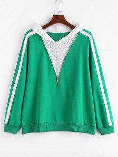 Plus Size Side Striped Zipper Hoodie - Green 3x