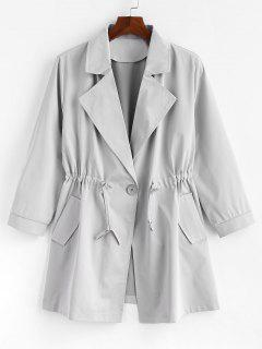 Plus Size One Button Plain Trench Coat - Gray 3x