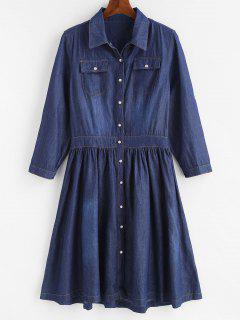Plus Size Snap Button Chambray Flare Dress - Denim Dark Blue 4x