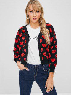 Heart Jacquard Knit Button Up Cardigan - Negro