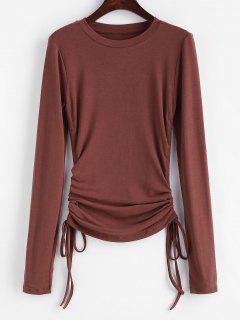 Slim Drawstring Side Long Sleeve Tee - Chestnut S