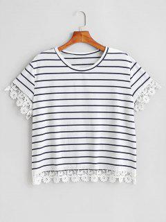 Camiseta De Corte De Ganchillo A Rayas De Talla Grande - Blanco 1x