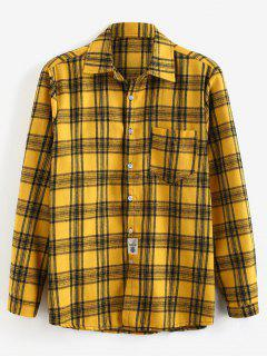 Patch Design Check Long Sleeves Shirt - Yellow L