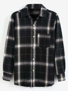 Plaid Raw Hem Long Sleeves Shirt - Black Xl
