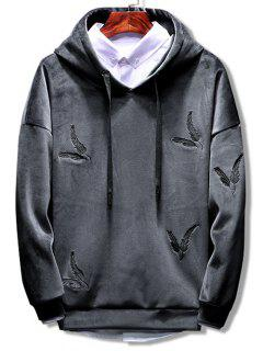 Solid Feather Embroidery Velvet Hoodie - Grau 3xl