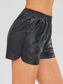 Pantalones Cortos De Cuero De Imitación Forro Polar - Negro L
