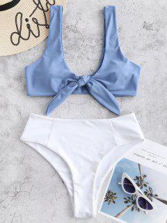 Ensemble De Bikini Bicolore Noué à Taille Haute - Bleu-gris L