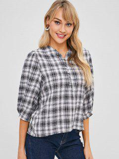 Half-button Checked Blouse - Multi-a L