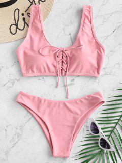Lace Up Padded Bikini Set - Flamingo Pink L