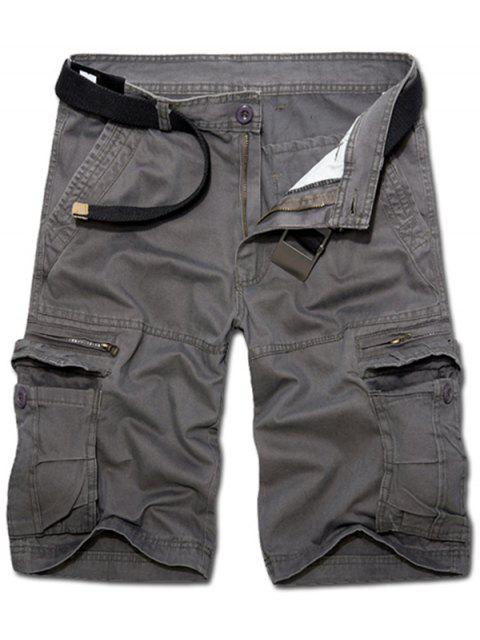 Casual Loose Fit corto Multi-bolsillos con cremallera sólidos pantalones de color de carga para los hombres - Gris Oscuro 34 Mobile