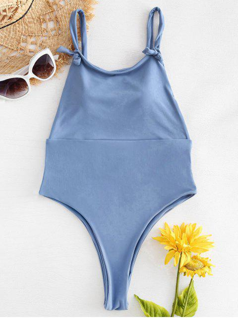 buy Knot Strap High Cut One Piece Swimsuit - COLUMBIA BLUE L Mobile