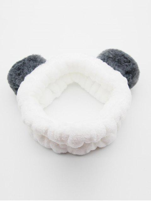 womens Vintage Fuzzy Ball Elastic Hairband - GRAY  Mobile