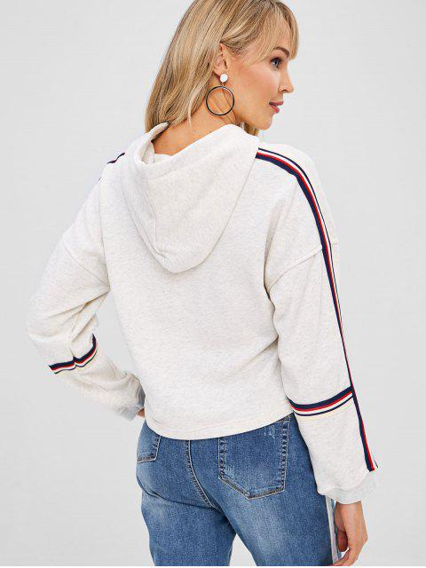 latest Striped Patched Drawstring Hoodie - LIGHT GRAY M Mobile