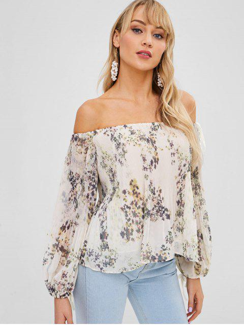 trendy Off Shoulder Floral Print Pleated Blouse - BEIGE S Mobile