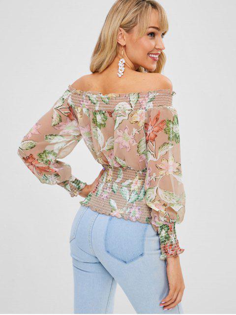 shops Floral Smocked Off Shoulder Blouse - GREEN S Mobile