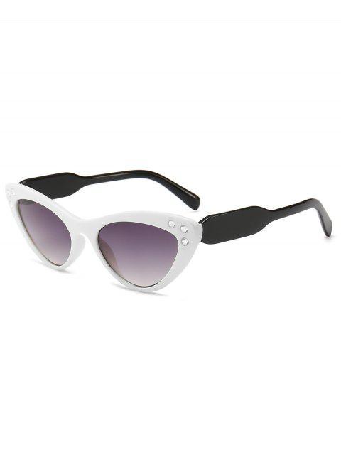 women's Cat Eye Design Rhinestone Sunglasses - WHITE  Mobile